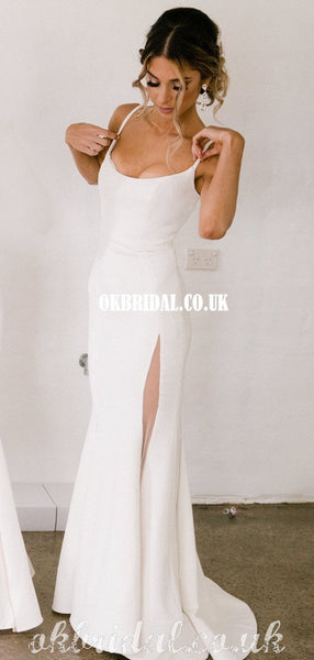Charming Spaghetti Straps Backless Ivory Bridesmaid Dress, FC5043