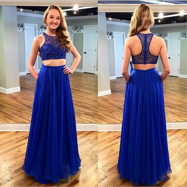 8399210c9ea Royal BlueTwo Pieces Junior Cheap Chiffon Pretty Long Prom Dresses ...