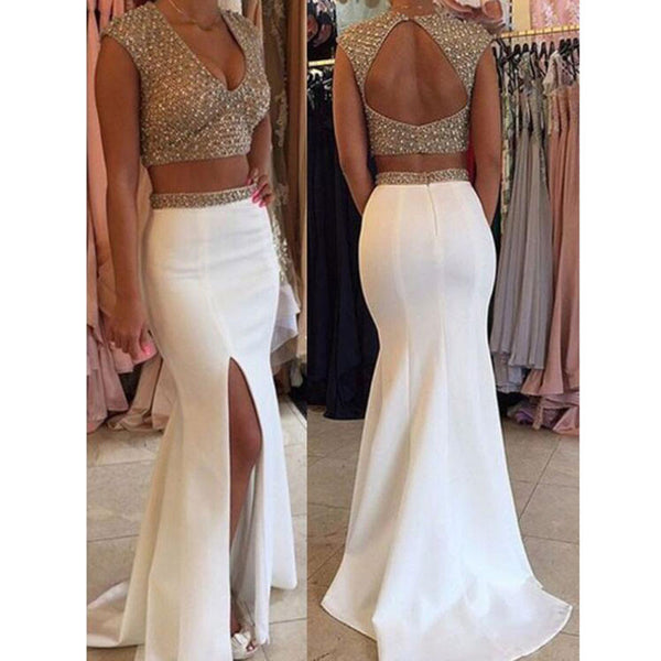 WhiteTwo Pieces Sexy Mermaid Backless Side Slit Long Prom Dresses, WG506