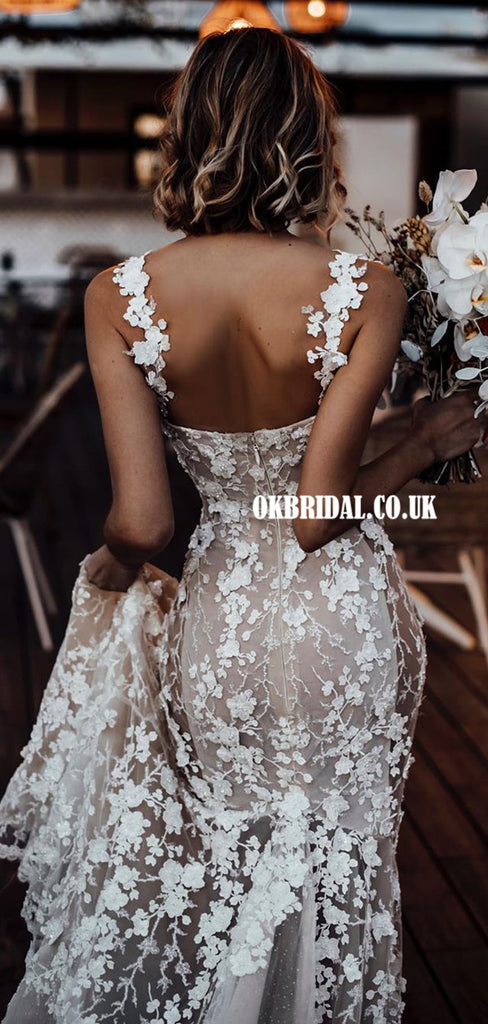 Stunning Mermaid Lace Backless Spaghetti Straps Wedding Dresses, FC5099