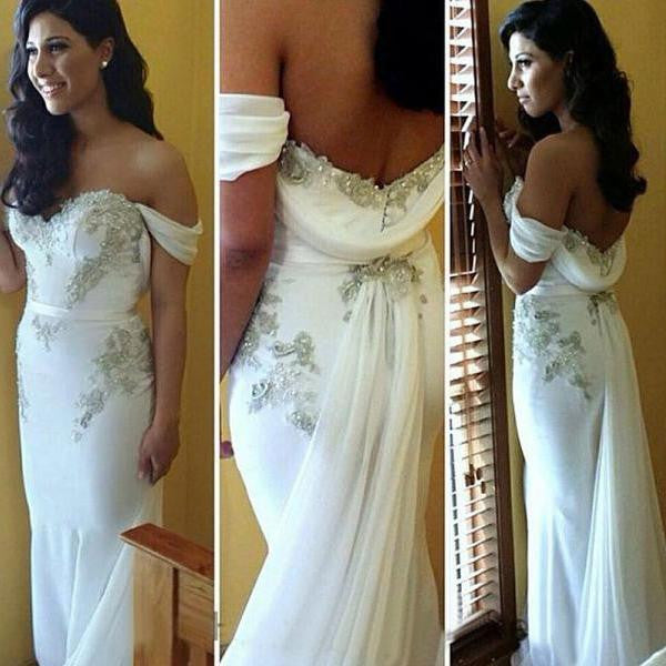 White Off Shoulder Sweetheart Mermaid Sexy Long Prom Dress, WG511