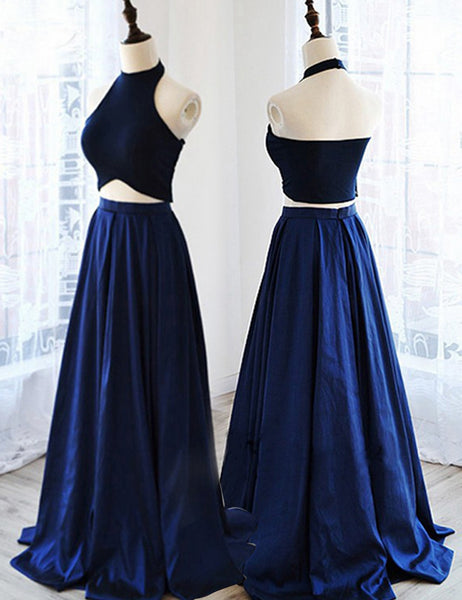 Long Prom Dresses, Satin Prom Dresses, A-Line Party Dresses, Two Pieces Evening Dresses, Floor-Length Prom Dresses , Halter Prom Dresses, LB0512