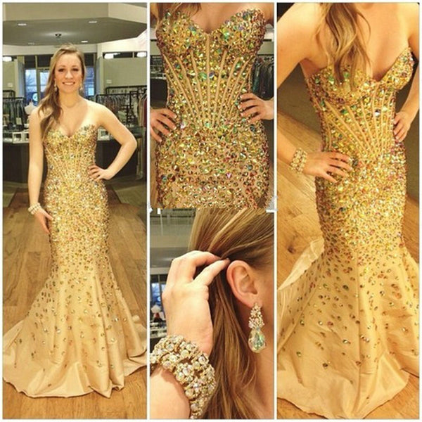 Gorgeous Gold Shinning Sweetheart Mermaid Heavy Beaded Long Prom Dress, WG514