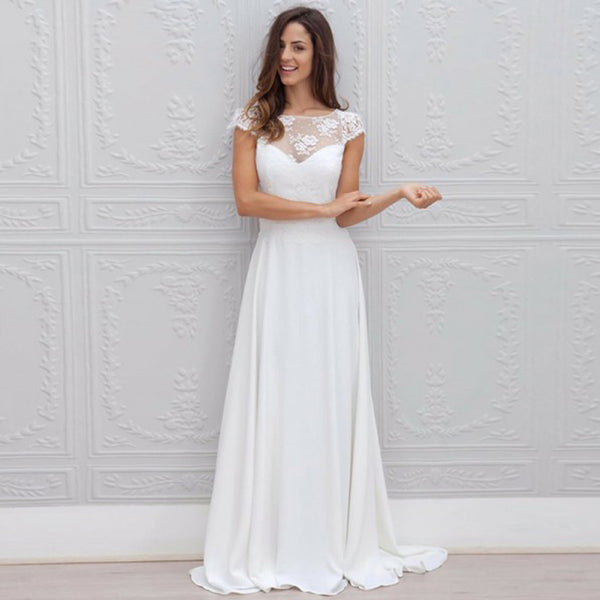 f70932cd3ba20 Long Wedding Dress, Lace Wedding Dress, Chiffon Bridal Dress, Cap Sleeve Wedding  Dress