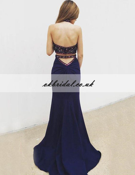 Halter Two Pieces Prom Dress, Beaded Top Backless Mermaid Prom Dress, KX517