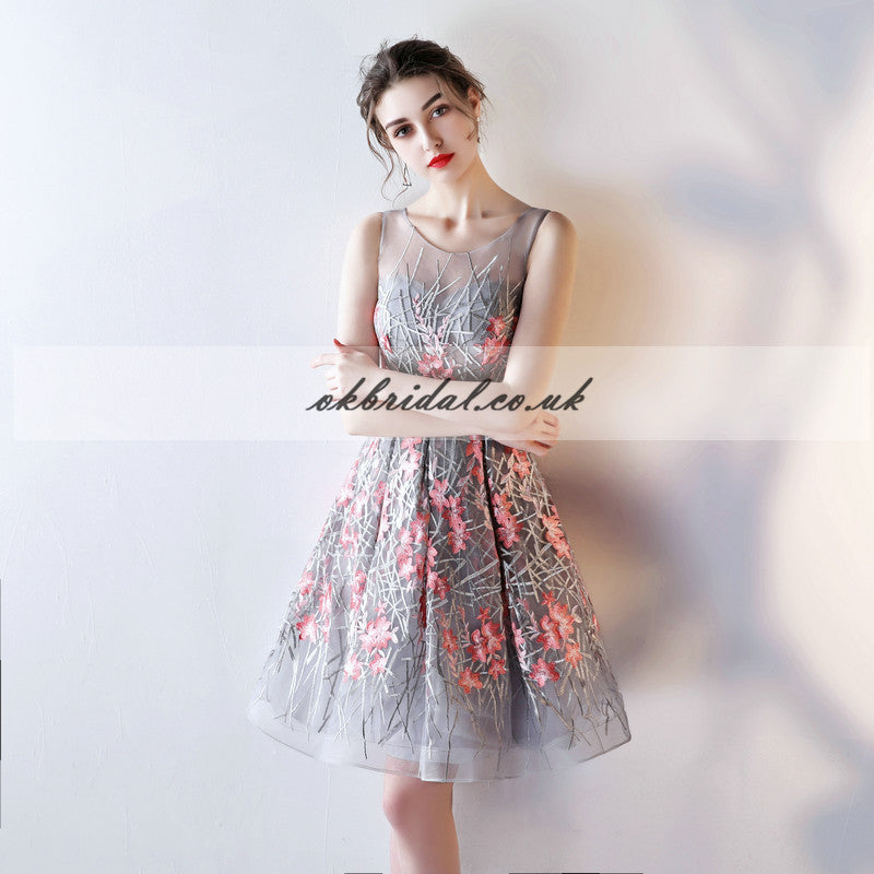 Round Neckline Organza Homecoming Dress, Applique Sleeveless Homecoming Dress, KX518