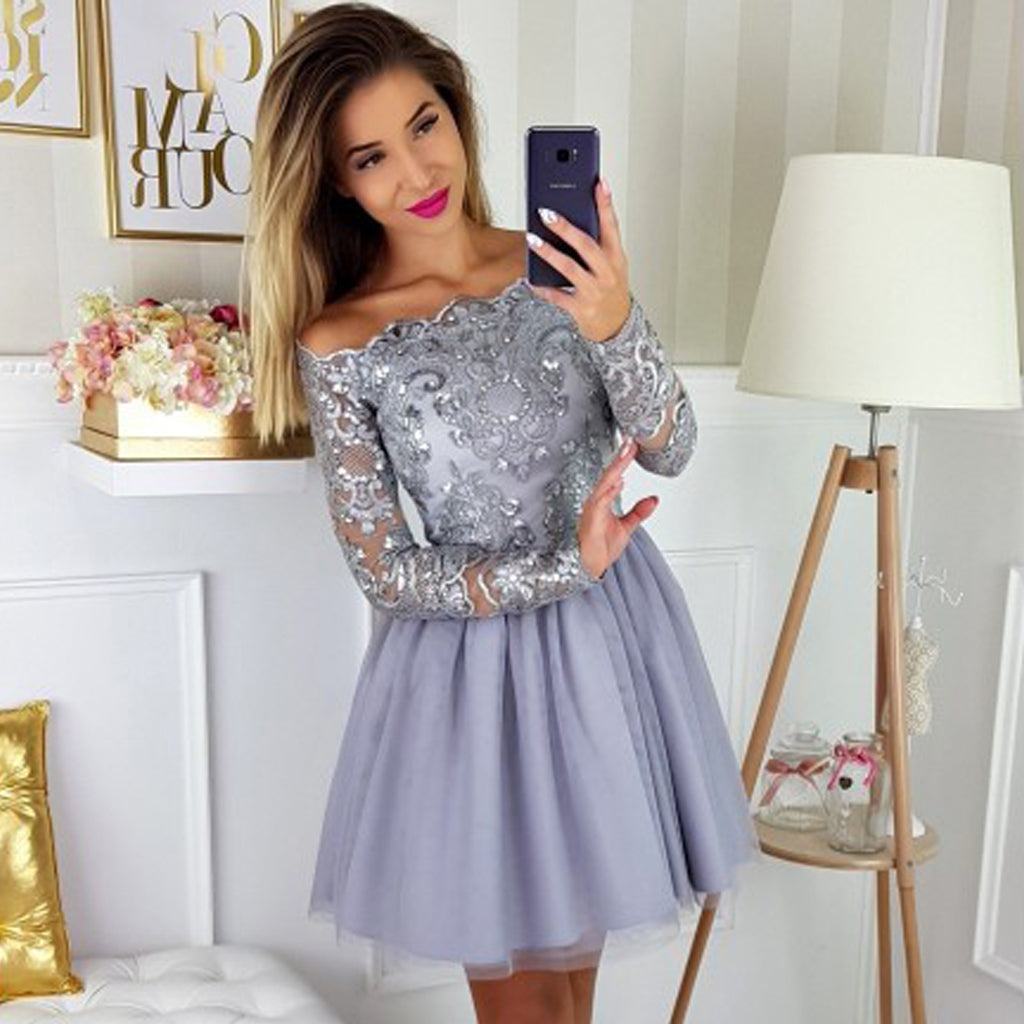 Off the Shoulder Tulle Homecoming Dress, Lace Knee-Length Long Sleeve Homecoming Dress, KX51