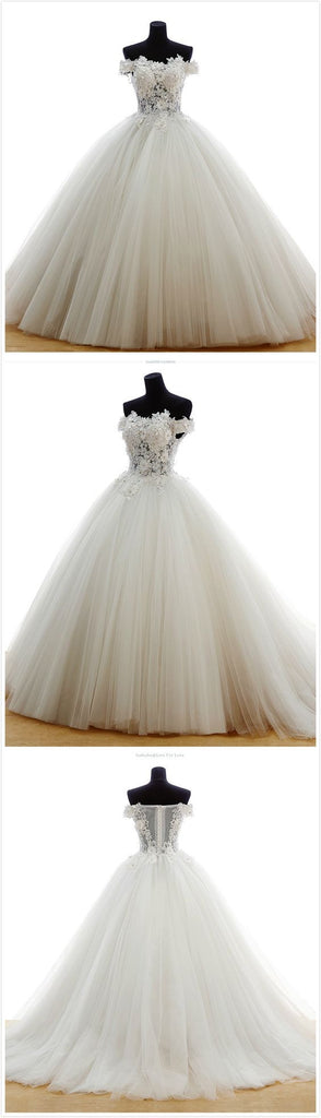 2017 High Quality Off Shoulder Lace Sleeveless Charming Tulle Floor-Length Wedding Dresses,220052
