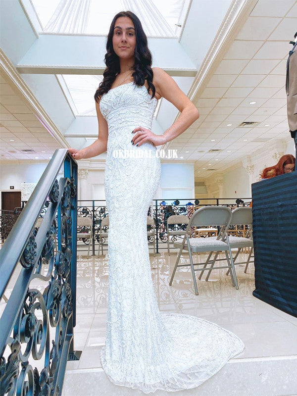 Long Mermaid Lace Sleeveless Cross-back Prom Dress , FC5284