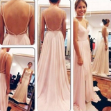 Popular Simple Backless Chiffon Junior Cheap Long Prom Dress, WG528