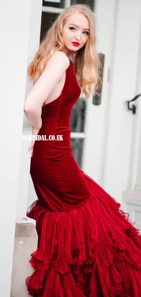 Gorgeous Velvet Mermaid One-Shoulder Backless Organza Prom Dresses, FC5360