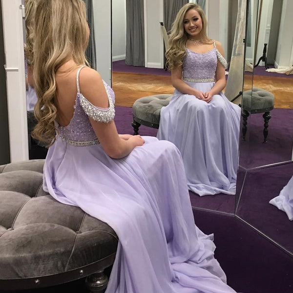 Light Purple A-Line Chiffon Prom Dress, Beaded Backless Gorgrous Prom Dress, KX536