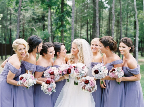 Long Chiffon Bridesmaid Dress, Purple Off-Shoulder Bridesmaid Dress, Cheap Floor-Length Bridesmaid Dress, LB0539