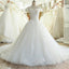 2017 A-Line Lace Off Shoulder Backless Applique Sequin Beautiful Wedding Dresses with Chapel Train,220054
