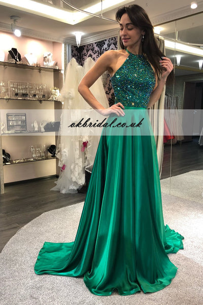 A-Line Beaded Prom Dress, Cheap Floor-Length Prom Dress, KX540