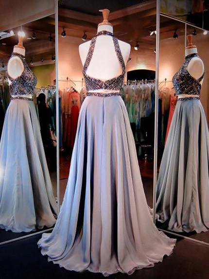 Satin Prom Dresses, A-Line Two Pieces Evening Dresses, Beaded Backless Prom Dress, LB0544