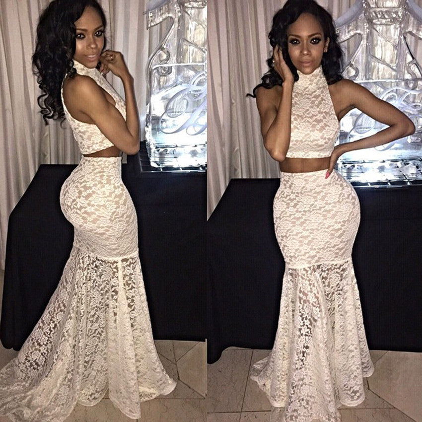 Two Pieces High Neck Lace Mermaid Cheap Long Prom Dress, WG545
