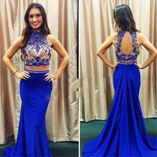 Two Pieces Royal Blue Open Back Popular Cheap Long Prom Dress, WG547