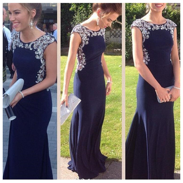 Elegant Navy Simple Cheap Evening Party Long Prom Dress, WG549