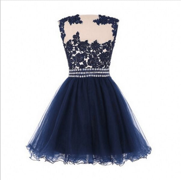 2017 A-Line Sexy  Navy Blue Homecoming Dresses,Sleeveless Applique Rhinestone Cheap Graduation Dresses,220055