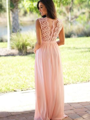 Chiffon Bridesmaid Dress, Lace Cheap Bridesmaid Dress, Sleeveless Bridesmaid Dress, LB0554