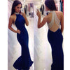 Charming Royal Blue High Neck Mermaid See Through Beaded Back Long Prom Dress, WG555