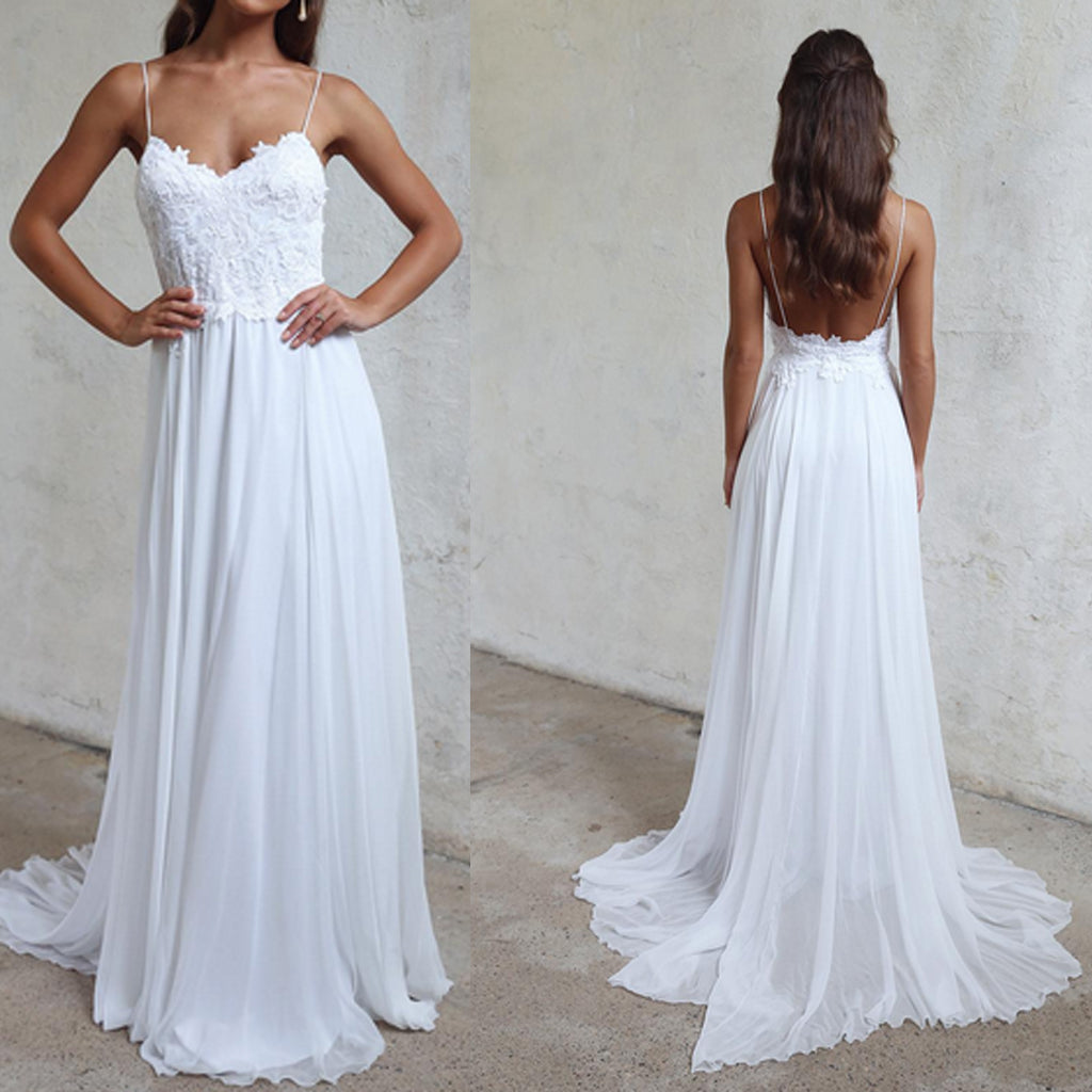 Long Wedding Dress, Chiffon Wedding Dress, Spaghetti Straps Bridal Dress, Sexy Wedding Dress, Lace Wedding Dress, Beach Wedding Dress, A-Line Wedding Dress, LB0557