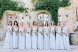 Mismatched Different Styles Chiffon Light Blue A Line Cheap Bridesmaid Dresses, WG104