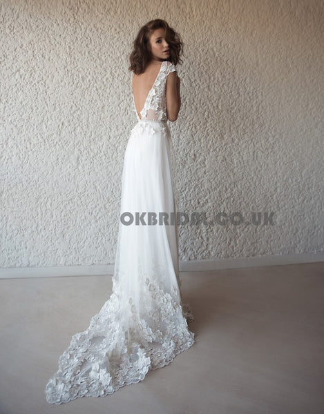 Charming A-Line V-Neck Applique Backless Tulle Wedding Dresses, KX566