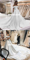 New Arrival Satin A-Line Wedding Dresses, Charming Applique Backless Wedding Gowns, KX566