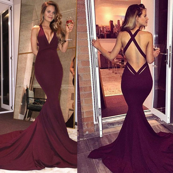 Long Prom Dresses, Satin Prom Dresses, Mermaid Party Dresses, Criss-Cross Straps Evening Dresses, Deep V-Neck Prom Dress, Backless Prom Dress, Prom Dress with Court Train, LB0569