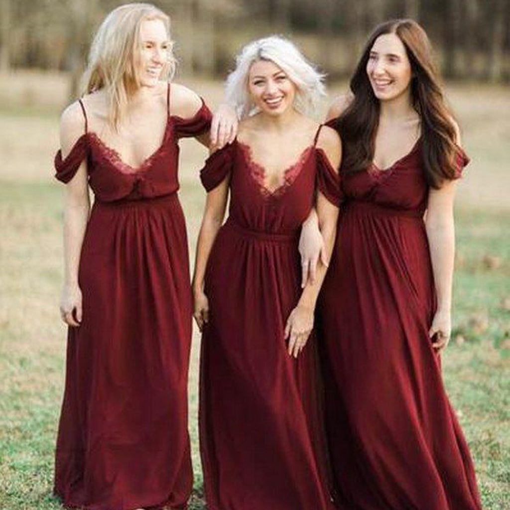V-Neck Chiffon Bridesmaid Dress, Lace Off Shoulder Bridesmaid Dress, KX576