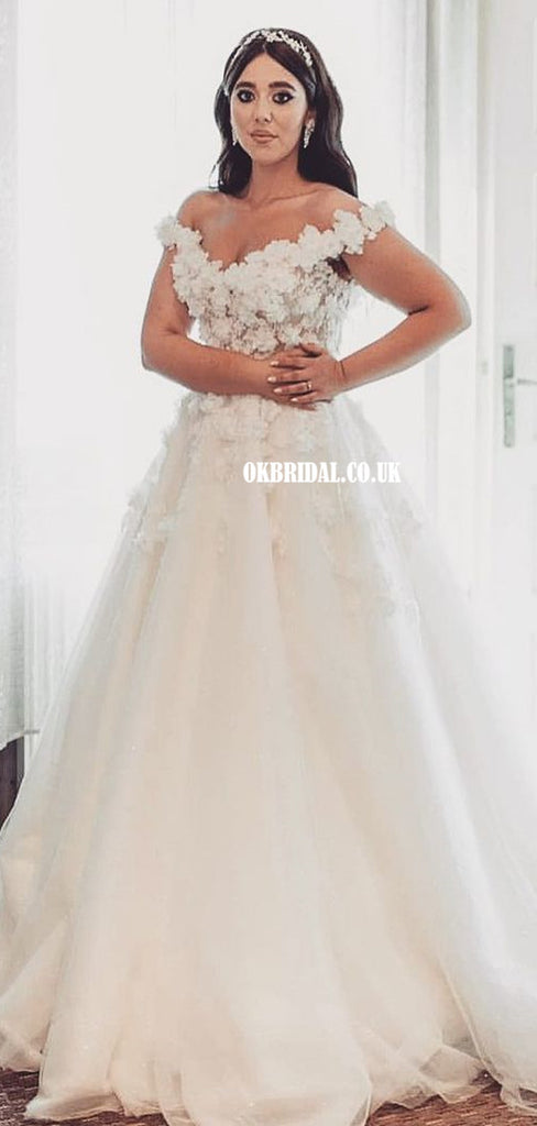 Elegant Lace Off Shoulder A-line Lace Appliques Wedding Dresses, FC5808