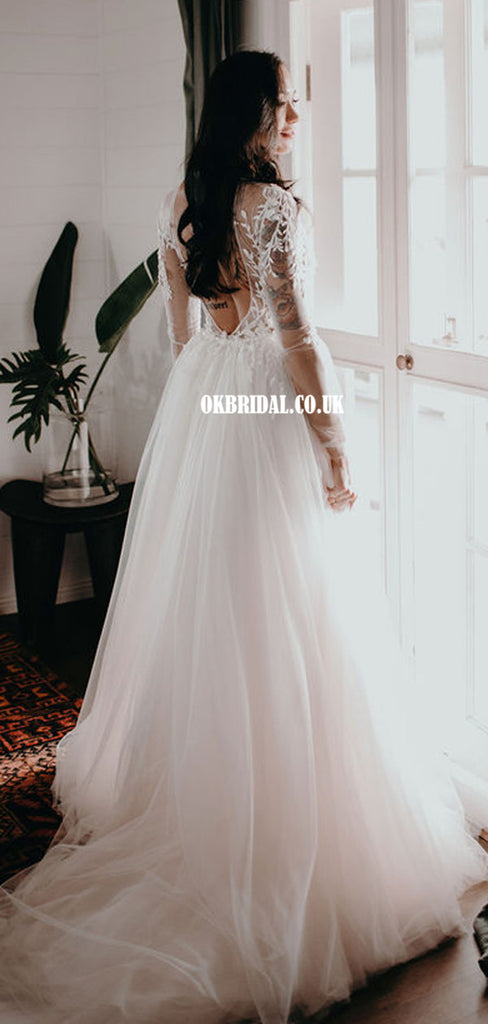 Sexy Deep V-neck Backless Long Sleeves Mermaid Wedding Dresses, FC5816