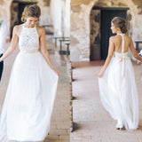 Tulle Wedding Dress, Halter Backless Wedding Dress, Lace White Wedding Dress, LB0583