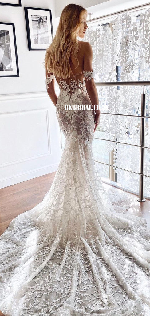 Stunning Off Shoulder Lace Mermaid Sweetheart Backless Wedding Dresses, FC5864