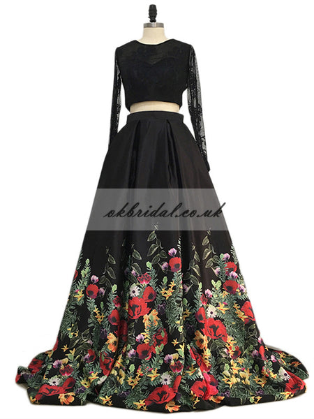 Long Sleeve Lace Two Pieces Prom Dress, Open-Back Printed Flower Prom Dress, KX587