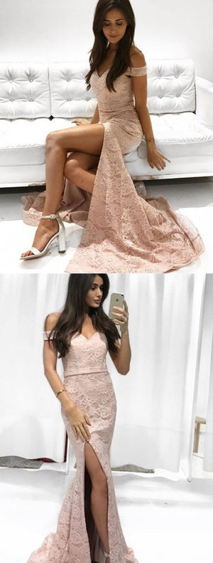 Off Shoulder Mermaid Prom Dresses, Lace Backless Floor-Length Prom Dresses, KX588