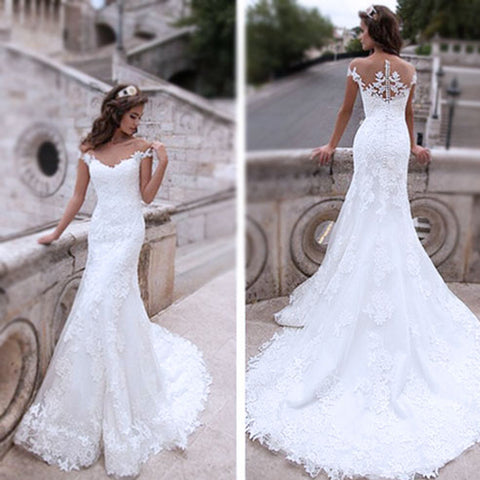 Charming Off Shoulder Sexy Mermaid White Lace Bridal Gown, Wedding Dresses, WD0058