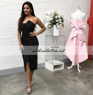 Charming Black Slit Bridesmaid Dress, Cheap Backless Pleated Bridesmaid Dress, KX591