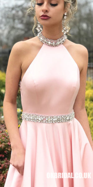 Pink A-Line Satin Prom Dresses, Beaded Backless Vintage Prom Dresses, KX599