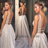 Deep V-Neck Prom Dresses, Sparkle Backless Vintage Prom Dresses,KX600