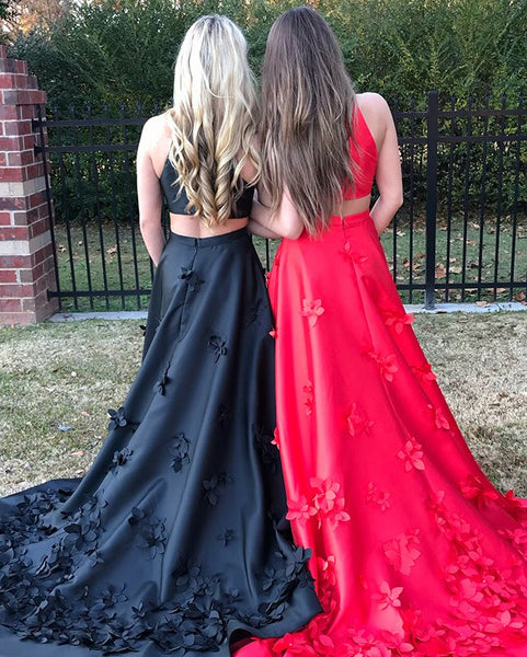Black and Red A-Line Satin Sleeveless Applique Long Prom Dress, FC609
