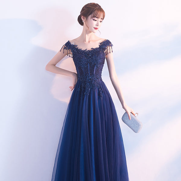 Tulle Prom Dresses, Beading Applique Evening Dresses, A-Line Gorgeous Prom Dress, LB0609