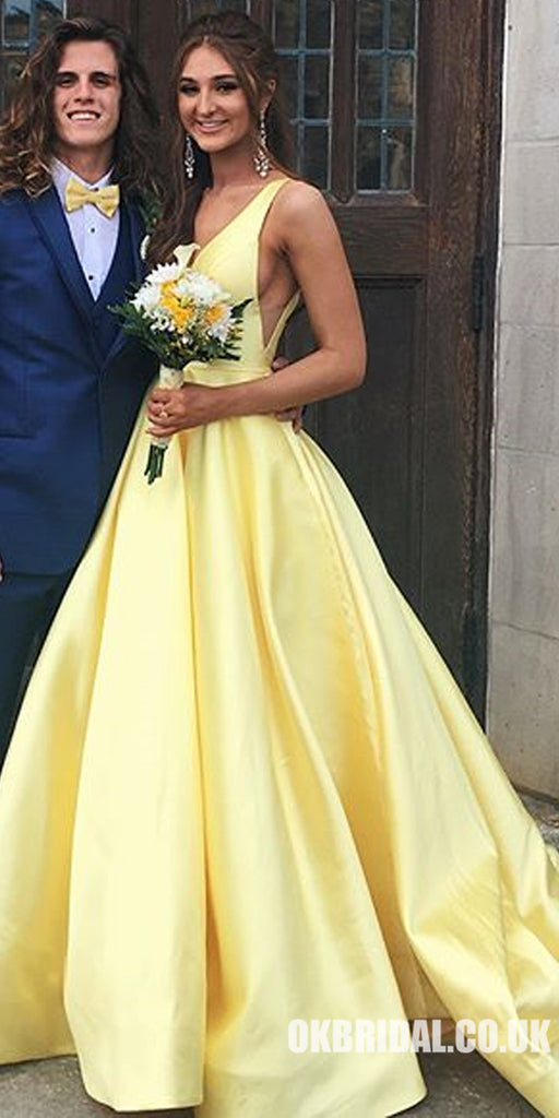 A-Line Satin Prom Dress, Charming Yellow V-Back Prom Dress, KX610