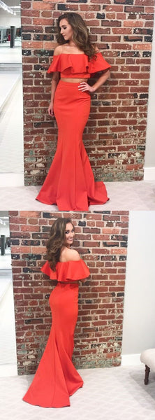 Two Pieces Mermaid Jersey Prom Dress, Charming Off Shoulder Red Prom Dress, KX613