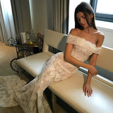 Lace Off-Shoulder Mermaid Wedding Dress, Backless Applique Sexy Wedding Dress, LB0619