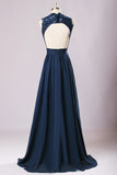 New Long Lace Top Bridesmaid Dresses, Navy Blue Chiffon Bridesmaid Dresses, 220062