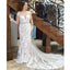 Long Sleeve Memraid Wedding Dress, Beaded Round Neckline Tulle Wedding Dress, KX620