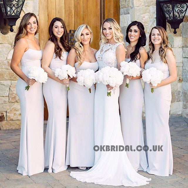 Spaghetti Straps Mermaid Bridesmaid Dress, Cheap Backless Bridesmaid Dress, KX624